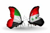 Two Butterflies With Flags On Wings As Symbol Of Relations Uae And Syria