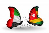 Two Butterflies With Flags On Wings As Symbol Of Relations Uae And Togo