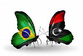 Two Butterflies With Flags On Wings As Symbol Of Relations Brazil And Libya