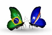 Two Butterflies With Flags On Wings As Symbol Of Relations Brazil And Marshall Islands
