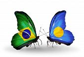 Two Butterflies With Flags On Wings As Symbol Of Relations Brazil And Palau