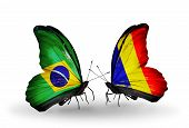 Two Butterflies With Flags On Wings As Symbol Of Relations Brazil And Chad, Romania