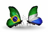 Two Butterflies With Flags On Wings As Symbol Of Relations Brazil And Sierra Leone