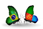 Two Butterflies With Flags On Wings As Symbol Of Relations Brazil And Eritrea
