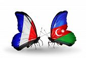 Two Butterflies With Flags On Wings As Symbol Of Relations France And Azerbaijan