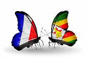 Two Butterflies With Flags On Wings As Symbol Of Relations France And Zimbabwe