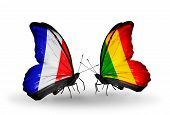 Two Butterflies With Flags On Wings As Symbol Of Relations France And Mali