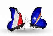 Two Butterflies With Flags On Wings As Symbol Of Relations France And  Marshall Islands