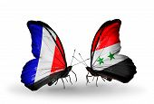 Two Butterflies With Flags On Wings As Symbol Of Relations France And Syria