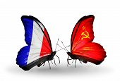 Two Butterflies With Flags On Wings As Symbol Of Relations France And Soviet Union