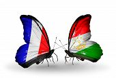 Two Butterflies With Flags On Wings As Symbol Of Relations France And Tajikistan
