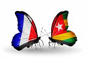 Two Butterflies With Flags On Wings As Symbol Of Relations France And Togo