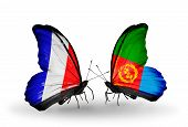 Two Butterflies With Flags On Wings As Symbol Of Relations France And Eritrea