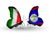 Two Butterflies With Flags On Wings As Symbol Of Relations Italy And Belize