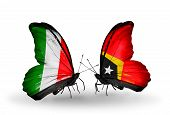 Two Butterflies With Flags On Wings As Symbol Of Relations Italy And East Timor