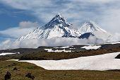 Kamen Volcano, Kliuchevskoi Volcano, Bezymianny Volcano. Kamchatka