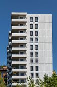 Balconies On Concrete And Glass Condo Building