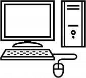 Home computer icon - vector illustration