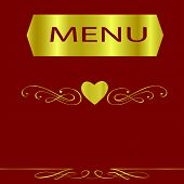 Maroon And Gold Menu Cover For A Gourmet Restaurant