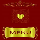 Maroon And Gold Menu Cover For A Classy Restaurant