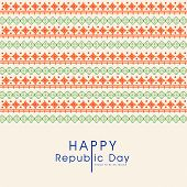 Elegant greeting card design in national flag colors for Happy Indian Republic Day celebration.