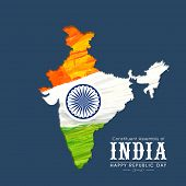image of indian blue  - Republic of India map in national tricolor with Ashoka Wheel on blue background for Happy Indian Republic Day celebration - JPG