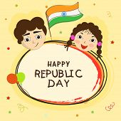 Cute little kids with National Flag on stars decorated background for Happy Indian Republic Day celebration.