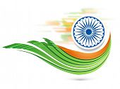 Indian Republic Day celebration with Ashoka Wheel and national flag colors on abstract background.