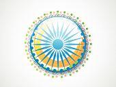 Creative Ashoka Wheel with national flag colors on grey background for Indian Republic Day celebration.