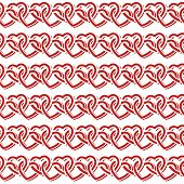 image of interlock  - Seamless pattern with red interlocking hearts on white background - JPG
