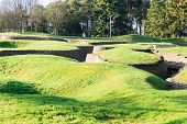 stock photo of battlefield  - The trenches and craters on battlefield of Vimy ridge - JPG