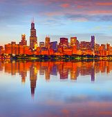 City of Chicago USA at sunset