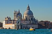 Morning in Venice, boats, Grand Canal and Santa Maria church