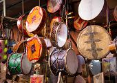 stock photo of drums  - Traditional handmade drums somewhere in Marrakesh Morocco - JPG