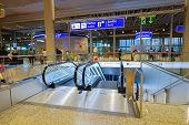 GENEVA - SEP 11: Airport interior on September 11, 2014 in Geneva, Switzerland. Geneva International Airport is located 4 km northwest of the city centre