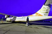 GENEVA - SEP 11: Darwin Airline ATR-72 on September 11, 2014 in Geneva, Switzerland. Geneva International Airport is located 4 km northwest of the city centre