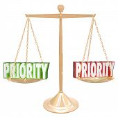 Priority 3d words on a gold scale or balance to illustrate weighing tasks, jobs or qualities for the most important thing to do
