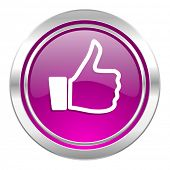 thumbs up violet icon thumb up sign