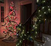 Christmas tree and lighted garland