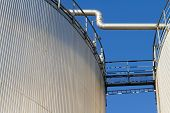 Industrial storage tanks for fuel.
