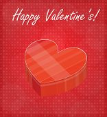 Happy Valentine's Card With Heart Shaped Box Red Background
