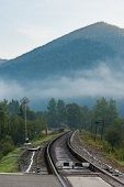 winding railroad in the mountains