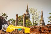 stock photo of gautama buddha  - Reclining Buddha in Ayutthaya historical park Thailand - JPG
