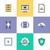 Security And Web Development Pictogram Icons Set