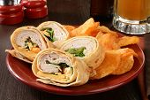 picture of sandwich wrap  - A turkey or chicken wrap sandwich with potato chips and a mug of beer - JPG
