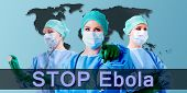 image of syphilis  - stop ebola female medical doctor background is a world map - JPG