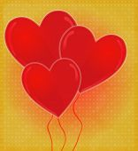 Heart-shaped Balloons Card With Glossy Heart Red & Golden Background