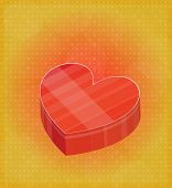 Happy Valentine's Card With Heart Shaped Box Red & Golden Background