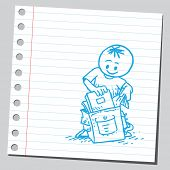 Schoolkid putting book in schoolbag
