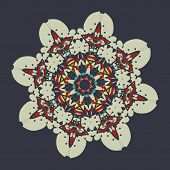 Colorful mandala over gray background. Vintage decorative element for flyer card. Hand drawn tribal